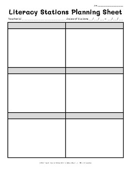 Literacy Stations Planning Sheets