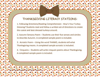 Literacy Stations - Thanksgiving Theme