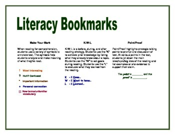 Literacy Strategy Bookmarks