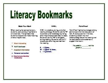 Literacy Strategy Bookmarks
