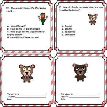 Folk and Fairy Tale Literacy Classics Reading and Comprehension Questions