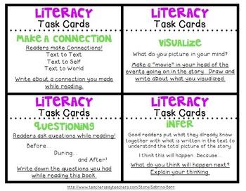 Literacy Task Card & Literacy Journal Strips BUNDLE