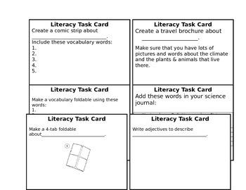 Literacy Task Cards
