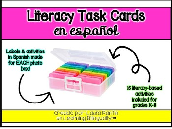 Literacy Task Cards Pack in Spanish (Photo Keeper Box)