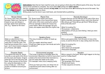 Literacy Task Menu - Lorax Themed