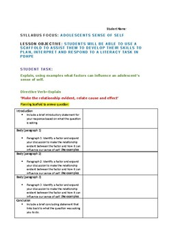 Literacy Task and Student Planning Scaffold