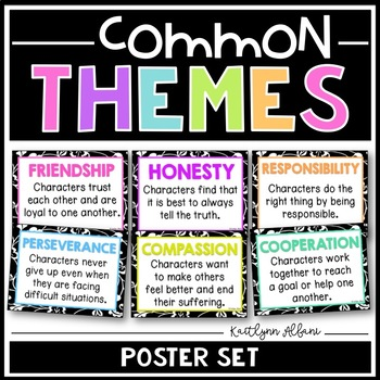 Literary Themes Posters - Common Themes for Reading Comprehension