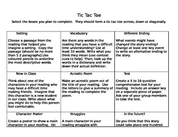 Literacy Tic-Tac-Toe Activity for Novel Studies