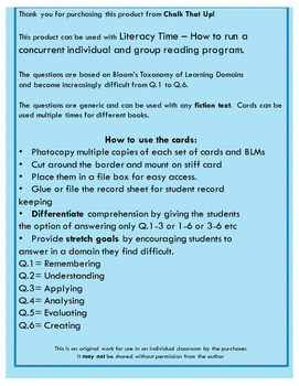 Literacy Time: Question cards for individual reading comprehension