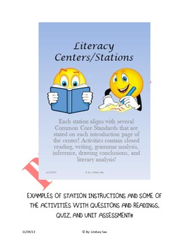 Literacy Unit with Keys(Closed Text, Evidence,Quizzes, & A