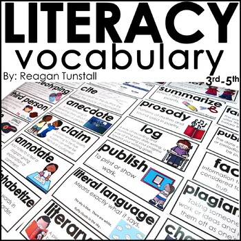 Literacy Vocabulary Word Wall Cards 3rd-5th