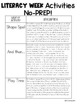 Literacy Week Activities: 8 In Total!