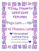Literacy Word Work for ANY List~ Fry's +42 Phonics Skills~ Personalized Learning