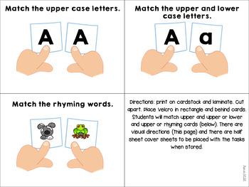 Literacy Work Box Tasks for Preschool