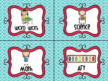 Literacy Work Station Cards- Blue and Red