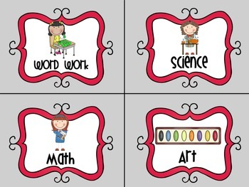 Literacy Work Station Cards- Grey and Red