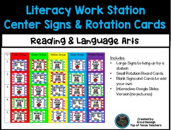 Literacy Work Station Center Signs & Rotation Cards + Google Slides Version