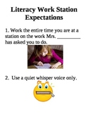 Literacy Work Station Expectations Poster