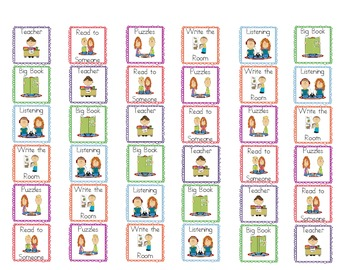 Literacy Work Station Pocket Chart Signs and Student Bookmarks