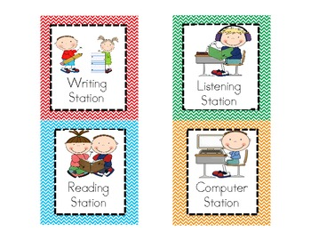 Literacy Work Station or Center Pocket Chart Labels AND Matching Posters