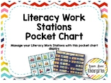 Literacy Work Stations Pocket Chart with EDITABLE student names