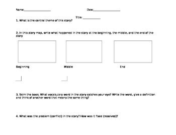 Literacy Worksheet (Main idea, Conflict, Resolution)