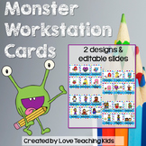 Monster Theme Classroom Decor Workstation Cards