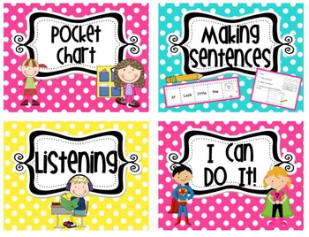 Literacy Workstation Cards in BRIGHT polka Dot & Editable BLANK cards