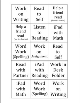 Literacy Workstation Sheet