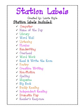 Literacy Workstation or Center Labels
