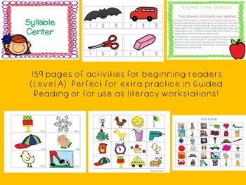 Literacy Workstations BUNDLE- Level A
