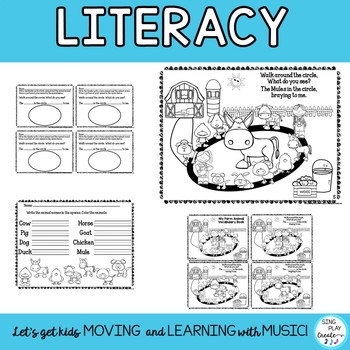 """Song: """"The Animals in the Circle"""" Literacy Activities, Game, Mp3 Tracks"""