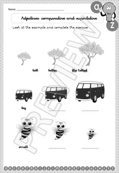 Literacy, Grammar, Vocabulary and Writing - Kindergarten & Grade 1 - Printable