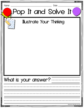 Literacy and Math Activities: Pop It and Solve It