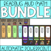 Station Rotation Literacy & Math Center Rotation Automatic PowerPoints (Bundle)