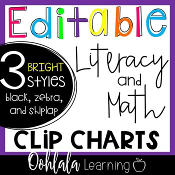 Editable Literacy and Math Center Clip Charts