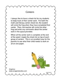 Literacy and Math Center Completion Sheets