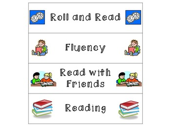 Literacy and Math Center Labels