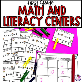 End of Year First Grade Literacy & Math Centers**BUNDLE**