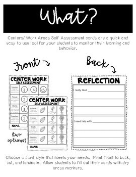 Literacy and Math Centers / Work Area Self Assessment Rubric
