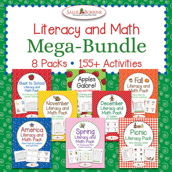 Literacy and Math MEGA BUNDLE - 8 Packs with 155+ centers and activities