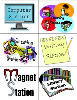 Literacy and Math Station Signs