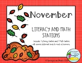 Literacy and Math Stations Kindergarten November