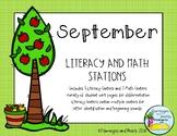 Literacy and Math Stations Kindergarten September