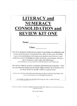 Literacy and Numeracy Consolidation and Review Kit One