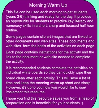 Literacy and Numeracy Morning Warm Up 3-6