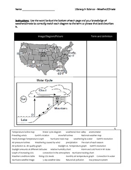 Elementary Literacy and Science Worksheet - Weather and Climate