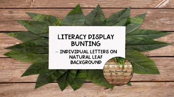 Literacy area wall bunting - natural leaf