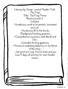 """Literacy by Design Leveled Reader Pack """"The Frog Prince"""" level K-No Prep!"""