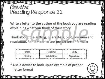 Literacy center activity cards